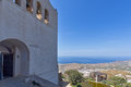 Entrance of Monastery Prophet Elias and panorama to Santorini island, Thira, Greece Royalty Free Stock Photo