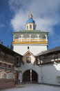Entrance in monastery tower over an pechorsky pskov region russia Stock Image