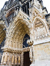 Entrance in notre dame cathedral in reims france gothic catholic Royalty Free Stock Image
