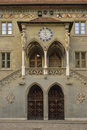 Entrance of the old city hall in Bern (RatHaus). Switzerland. Royalty Free Stock Photo