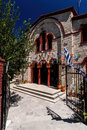 Entrance of orthodox church in pefkochori greece to an a small tourist town greek πευκοχώρ located the southeast the Stock Photos