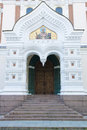 Entrance orthodox church tallin estonia door with mosaic of in Royalty Free Stock Photos