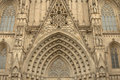 Entrance portal of gothic barcelona cathedral catalunya spain Stock Photo
