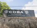 Entrance sign for COBA Zona Arqueologica Royalty Free Stock Photo