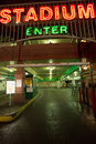 Entrance of the stadium car park in reno nevada august center with big letters Stock Images