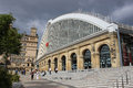 Entrance and steps Liverpool Lime Street station Royalty Free Stock Photo