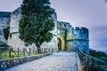 Entrance street to norman castle milazzo sicily