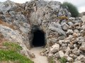 Entrance to the building with stones in the fortress of Fortezza, the Greek city of Rethymnon.