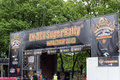 Entrance to the campsite harley davidson super rally on may in wroclaw poland europe s largest day motorcycle event Stock Photography