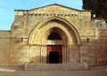 Entrance to church of the sepulchre of saint mary tomb of virgin mary near mount olives jerusalem israel Stock Photo