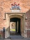 Entrance to courtyard Magdalene college, Cambridge, England. Royalty Free Stock Photo