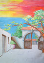 Entrance to the courtyard with tree pencil drawing Royalty Free Stock Images