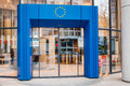 Entrance to european union strasbourg france march council of europe with blue gate and stars logo above and white Stock Photo
