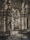 Entrance to forgotten temple with ivy and lion statues Stock Photography