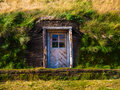 Entrance to the grass house door leading typical iceland Stock Photography