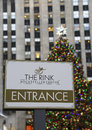 Entrance to ice-skating rink at the Lower Plaza of Rockefeller Center in Midtown Manhattan Royalty Free Stock Photo