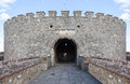 Entrance to a medieval castle tower keep Stock Photo