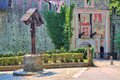 Entrance to medieval castle in turin italy big wooden cross at the valentino park Stock Photography