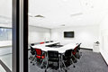 Entrance to a modern meeting room with door post Royalty Free Stock Photo