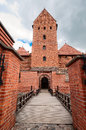 Entrance to the old brick castle in Trakai Royalty Free Stock Photo
