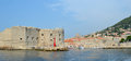 Entrance to the old town harbour at dubrovnik croatia september croatia wall and fortifications Stock Photos