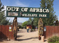 An entrance to out of africa wildlife park camp verde arizona july the on july near camp verde arizona a young couple reads the Royalty Free Stock Photo