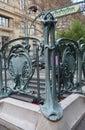 Entrance to the paris subway in art nouveau Stock Images