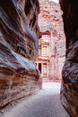 Entrance to petra view of al khazneh from al siq in jordan Royalty Free Stock Images