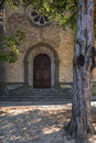 Entrance to q church in Vallon Pont d'Arc, France. Royalty Free Stock Photo