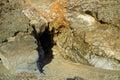 Entrance to sea cave  at Fishermans Cove Beach in Laguna Beach, California. Royalty Free Stock Photo