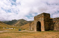 Entrance to the stone fortress and ancient hotel tash rabat kyrgyzstan best preserved silk road site it is largest Stock Photo