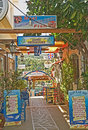 Entrance to tavernas in Sissi, Crete. Stock Images