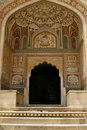 An entrance to a temple in Amber Fort, India Royalty Free Stock Photography