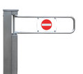 Entrance tourniquet, detailed turnstile, stainless steel, red no entry sign, isolated closeup, access control concept Royalty Free Stock Photo