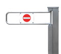 Entrance tourniquet detailed turnstile, stainless steel, red no entry sign, large isolated closeup access control security concept Royalty Free Stock Photo
