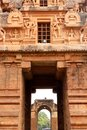 Entrance view through from second tower of the ancient temple of  Brihadisvara Temple in Thanjavur, india.