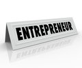 Entrepreneur name tent card expert business word on a or to illustrate a speaker or presenter who is an at ownership and Stock Images
