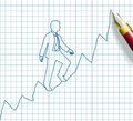 Entrepreneur start up business success pen drawing person from to growth on chart Royalty Free Stock Photography