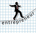 Entrepreneur on tightrope start up success business man walks financial to make Royalty Free Stock Photography