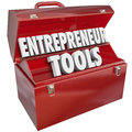 Entrepreneur tools red toolbox skills ideas words in a metal to illustrate help information tips and advice for growing your Stock Photography