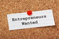 Entrepreneurs wanted the phrase typed onto a scrap of lined paper and pinned to a cork notice board Stock Images