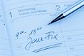Entry in the calendar jour fix an appointment is entered on a Stock Photography