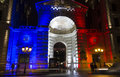 The entry into police headquarters paris france december lit up with colors of french national flag blue white red located Royalty Free Stock Images