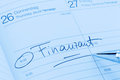 Entry to the calendar tax office a date is entered on a finance Stock Image