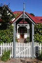 Entry to classical villa house with picket fence Stock Photos