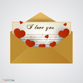 Envelop with letter and hearts vector illustration Stock Photo
