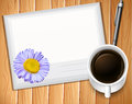 Envelop with pen anda cup of black coffee Stock Photo