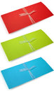 Envelop red green blue isolated on white background Stock Photo
