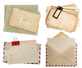 Envelope air mail and postcards isolated on white Royalty Free Stock Photo