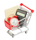 Envelope with alarm clock in shopping cart